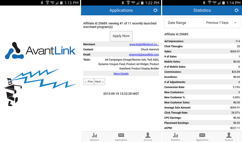 A trio of screenshots from the AvantLink mobile app.