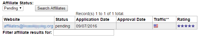 The approval date of the affiliate's application will fill in with the date the affiliate was turned live on to the program.