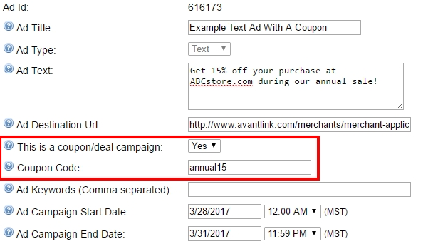 The Coupon/Deal configuration option on new ads followed by the coupon code box.