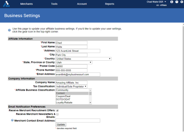 Business Settings Interface on AvantLink