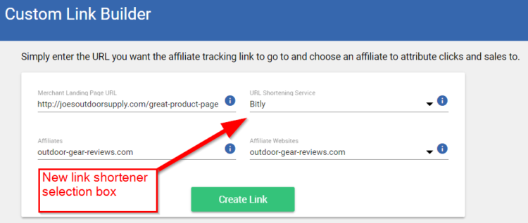 The new link shortening option available on the Merchant Custom Link Builder.