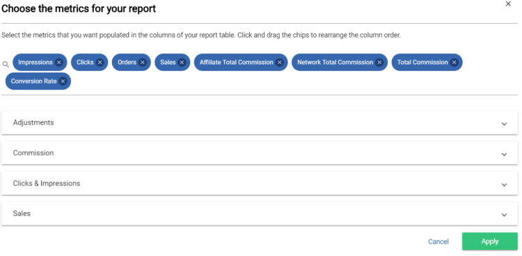 Reproting metrics